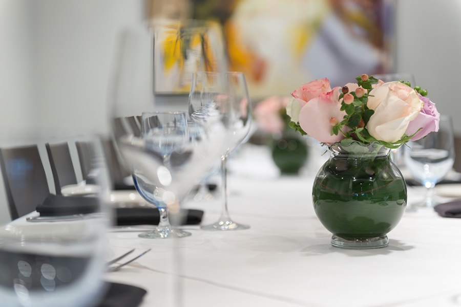 Closeup image of table setting in the Amerigo's Grille private dining Tuscany Room.